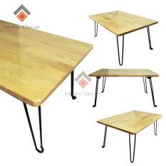 Bàn gỗ laptop (Tự Nhiên) XẾP GỌN – chân sắt sơn ĐEN – bàn học sinh viên – 60x40x28 – bàn làm việc Hiệu Quả