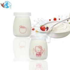 Hộp 12 Hủ Thủy Tinh Đựng Sữa Chua 100ml In Hình Ngộ Nghĩnh Ngẫu Nhiên
