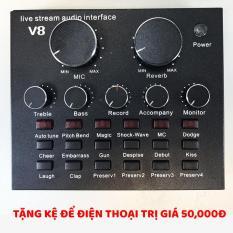 Mua Sound card V8 có Auto Tone dành cho micro thu âm tặng kệ để điện thoại ở đâu tốt?