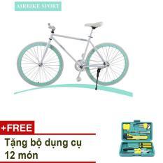 Xe đạp Fixed Gear Air Bike MK78 (trắng) + TẶNG bộ dụng cụ 12 món