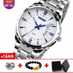 Đồng hồ nam dây thép không gỉ SKMEI SK013 – Boss Watches (Trắng)