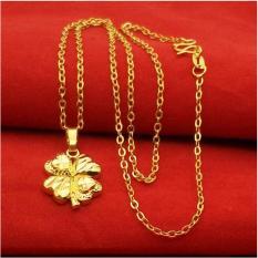 Dây Chuyền Nữ Mạ Vàng 24K – Hoa 4 Cánh Trái Tim – Cá Tính Và Sang Trọng
