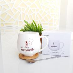 Cốc sứ MUMUSO in chữ cực đẹp có nắp (390ml) + Tặng kèm muỗng cà phê