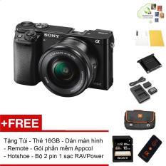 Sony A6000 24.3MP với lens Kit 16-50 (Đen) – Tặng thẻ 16GB + Túi + Dán màn hình + Remote + Gói cài app + Nắp hotshoe + Bộ 2 Pin 1 Sạc đôi RAVPower FW-50 – Hàng phân phối chính hãng