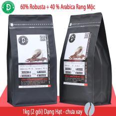 1kg Cà Phê Hạt Rang Mộc DUC ANH COFFEE tỉ lệ 6-4 với 60% Robusta + 40% Arabica cam kết nguyên chất – 2 gói zipper 500gr dạng Hạt