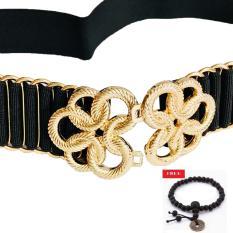 Dây nịt nữ mặc đầm mặt hoa cuốn hợp kim mạ vàng trọng dây đan độc đáo tặng vòng tiền xu may mắn DE01 (dây đen)