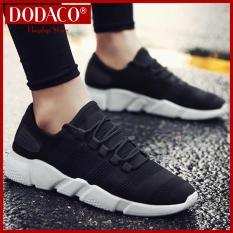 Giày sneaker nam DODACO DDC3219 giày thể thao nam thời trang style hàn quốc chất liệu siêu nhẹ vải khử mùi thoáng khí hàng hot trends giá rẻ mẫu mới nhất 2018 màu Đen Xám Trắng