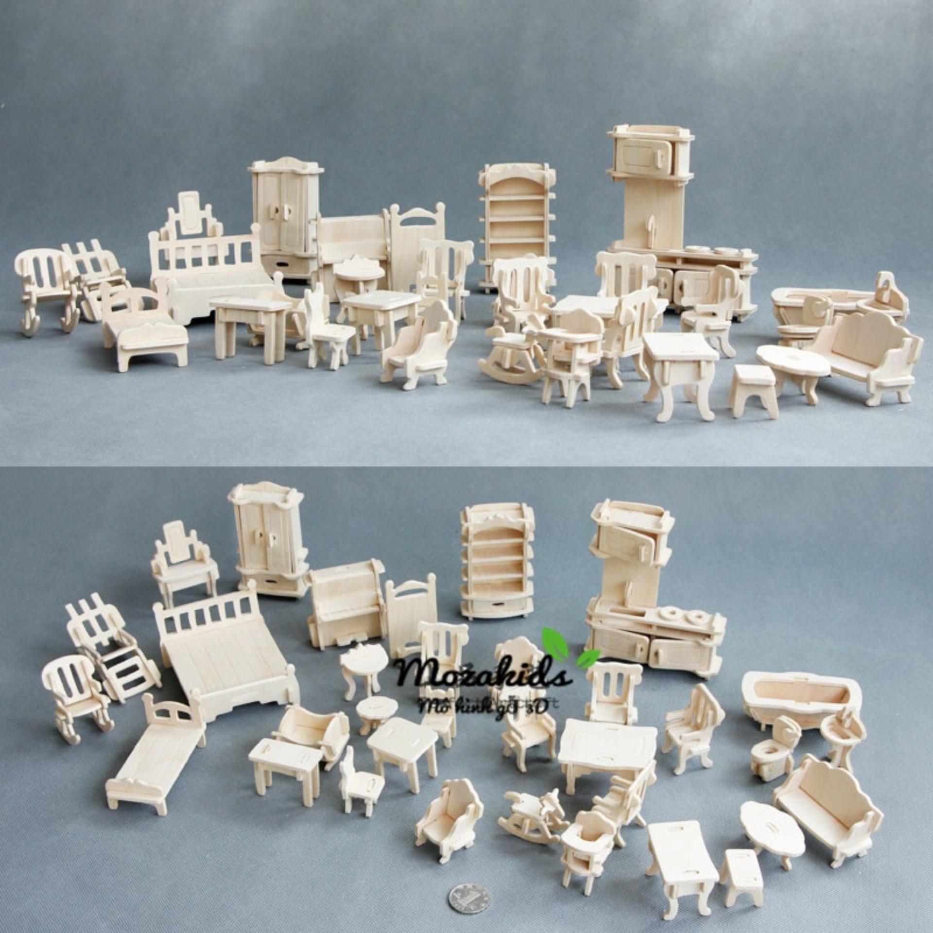 Đồ chơi lắp ráp gỗ 3D Mô hình Nội Thất 36 món