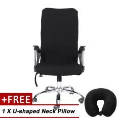 Vỏ bao ghế xoay văn phòng co giản tốt (Đen) (Không bao gồm ghế) + Tặng kèm 1 gối kê đầu đen