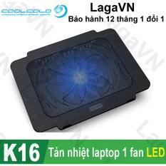 Đế tản nhiệt laptop COOLCOLD Thin Ice K16 1 quạt (Đen)