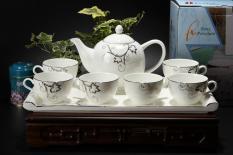 Bộ tách trà khay sứ xương 8 chi tiết Bone Porcelain 85253