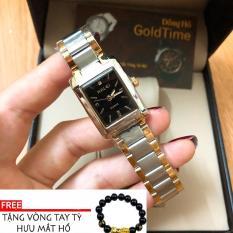 Đồng hồ nữ mặt vuông HALEI dây thép- TẶNG 1 vòng tỳ hưu phong thủy may mắn (đồng hồ dây deni mặt đen)