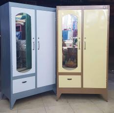 Tủ quần áo sắt 1m8 màu xám, màu vàng kem
