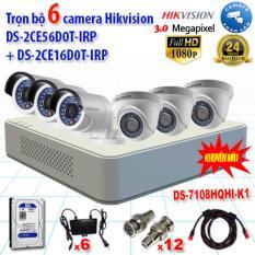 Trọn bộ 6 camera Hikvision (2MP) DS-2CE56D0T-IRP(3) +DS-2CE16D0T-IRP(3) + DS-7108HQHI-K1