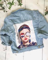 Áo khoác jean đắp vải hình lưng (xanh)