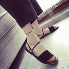 Giày sandal quai ngang 2 dây thun Đen
