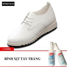 Giày boot thời trang nữ cổ thấp Sportmax SWG7088W-Trắng + Tặng bình xịt tẩy trắng