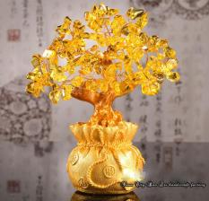 Cây Tài Lộc Đá Thạch Anh Vàng 18.5cm