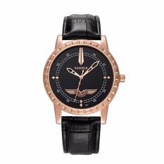 Đồng hồ nam YAZOLE YZZ 4533 dây da cao cấp ( Mặt đen kim vàng )