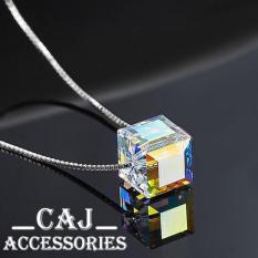 Địa Chỉ Bán Dây chuyền bạc 925 hạt pha lê khối vuông cổ điển Aurora sn-DC420