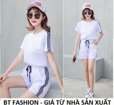 Đồ Bộ Áo Thun Nữ + Quần Đùi Sọt Thun Nữ Thể Thao, Ở Nhà, Đồ Ngủ Thời Trang Hàn Quốc Mới – BT Fashion (SO02B-3S)