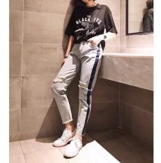 quần jean baggy nữ viền hông kèm rách gối 5112