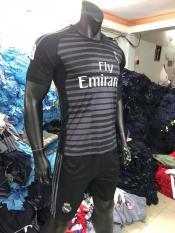 Bộ áo đá banh Real đen TM 2019