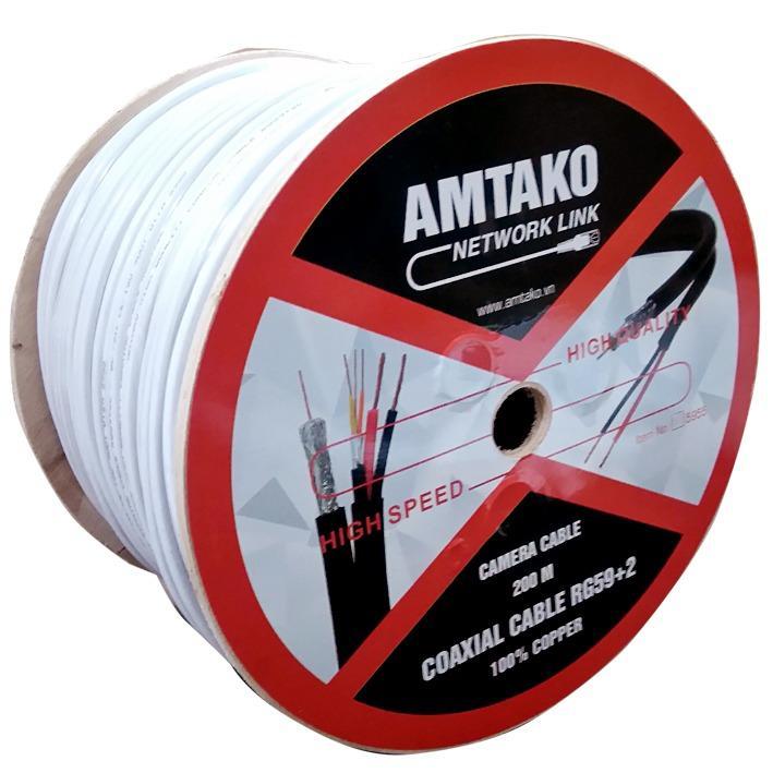 Cuộn cáp Camera (cáp đồng trục liền dây nguồn) AMTAKO 5944 dây màu trắng 200m