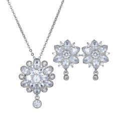 Bộ trang sức hoa tai thanh long đính đá pha lê bạc S925
