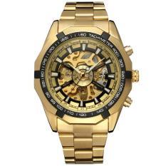 Đồng hồ cơ lộ máy Winner dây vỏ kim loại mạ màu thời trang DH1665