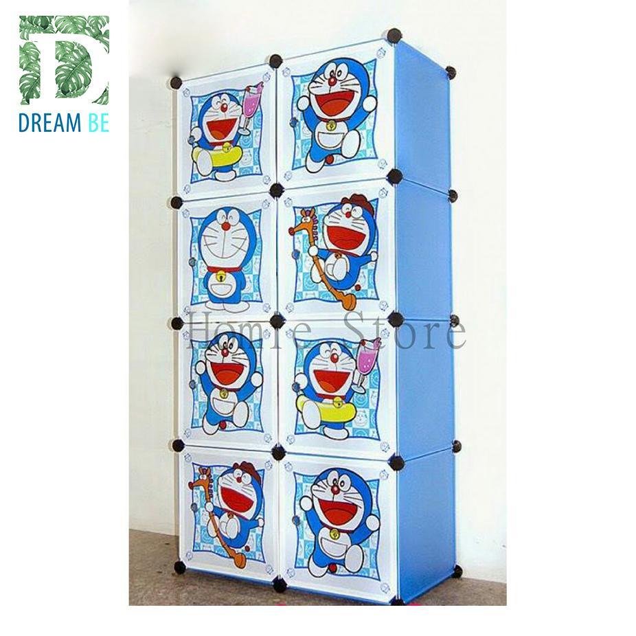 Tủ nhựa lắp ghép 8 ô hình doraemon màu xanh trời