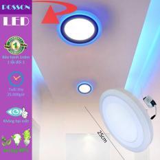 Đèn Led ốp trần 18w +6w tròn nổi 2 màu 3 chế độ sáng trắng+xanh LP-RoW18-B6
