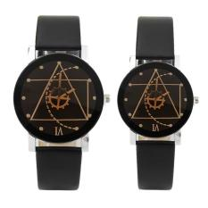 Đồng hồ cặp dây da Thạch Anh Tam Giác (Dây đen, Mặt Đen)