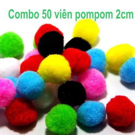 Combo 50 viên pom pom 2cm ( pompom )