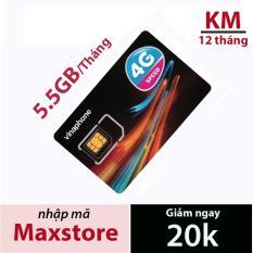 SIM 3G 4G VINAPHONE D500 5.5GB/1 THÁNG trọn gói 1 năm không nạp tiền từ maxstore.