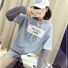 Áo Hoodie Nữ Tay Phối Kẻ Họa Tiết In Chữ Trẻ Trung Tina 2 Fashion WM TOP 800082