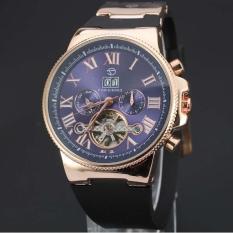 Đồng hồ nam Forsining 2373 cơ tự động dây silicone chạy full kim (Mặt xanh dây đen)