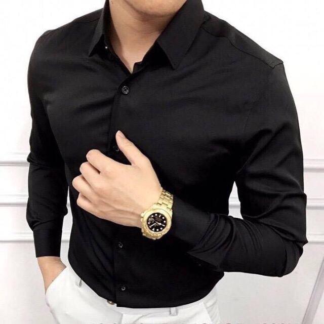 áo sơ mi nam dài tay dáng ôm body ( đen )
