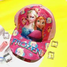 Nón kết Công chúa Elsa Anna Frozen nổi 3D lưới màu hồng lợt – NONFZ052705