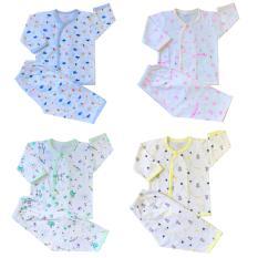 Combo 3 bộ quần áo sơ sinh tay dài in họa tiết JOU (100% cotton cao cấp)