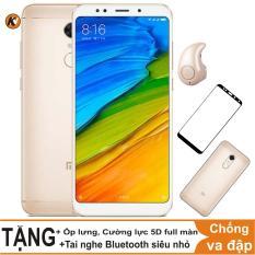 Xiaomi Redmi 5 Plus 32GB Ram 3GB Khang Nhung (Vàng) + Ốp lưng + Cường lực 5D full màn (Trắng) + Tai nghe Bluetooth siêu nhỏ