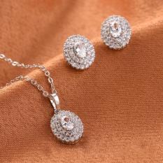 Bộ trang sức 2 món dây chuyền và bông tai hoa cúc bạc 925 ngọt ngào