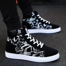 Giày nam cao cổ vải nhung họa tiết in nhiệt sắc nét đế cao su bền đẹp thời trang giaynam – G311 (đen)