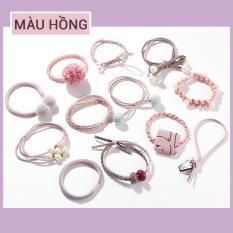 Bộ 12 Dây Buộc Tóc, Cột Tóc Hàn Quốc (Màu hồng)