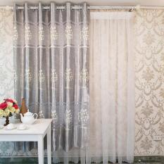 Rèm Cửa Sổ may sẵn – Vải gấm in cao cấp – Họa tiết bình hoa thiết kế riêng – Một Tấm 170×200 cm – Khoen Lỗ Cao Cấp R7-11