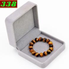 Vòng đeo tay đá mắt hổ vàng đen 10 ly 16 hạt kèm hộp nhung