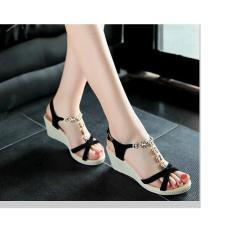 Giày Sandal Đế Xuồng Quai Hoa Cao 7 Phân (Đen)