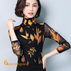 Áo thun lưới in lá vàng áo kiểu cổ lọ GLA244