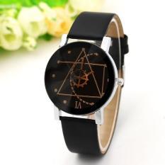 Đồng hồ nữ dây da Thạch Anh Tam Giác (Dây đen, Mặt Đen)