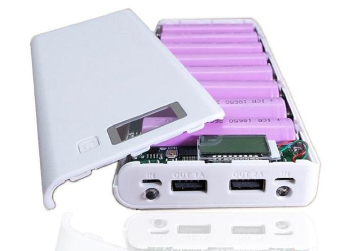Box sạc dự phòng 8 khe pin dùng pin 18650 - (trắng, chưa pin),Box sạc dự phòng 8 cell LCD